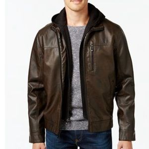 Calvin Klein | Faux Vegan Leather Hooded Jacket